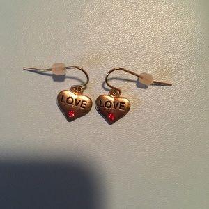 Gold Dangly Heart Earrings